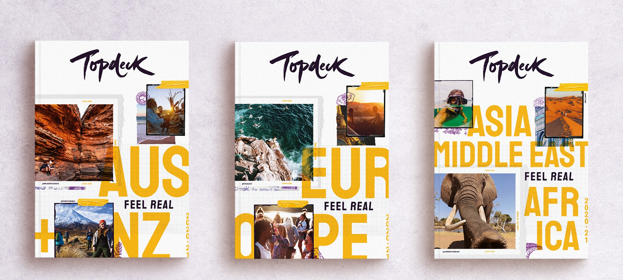 Graphic design new brochure front pages for Topdeck Travel
