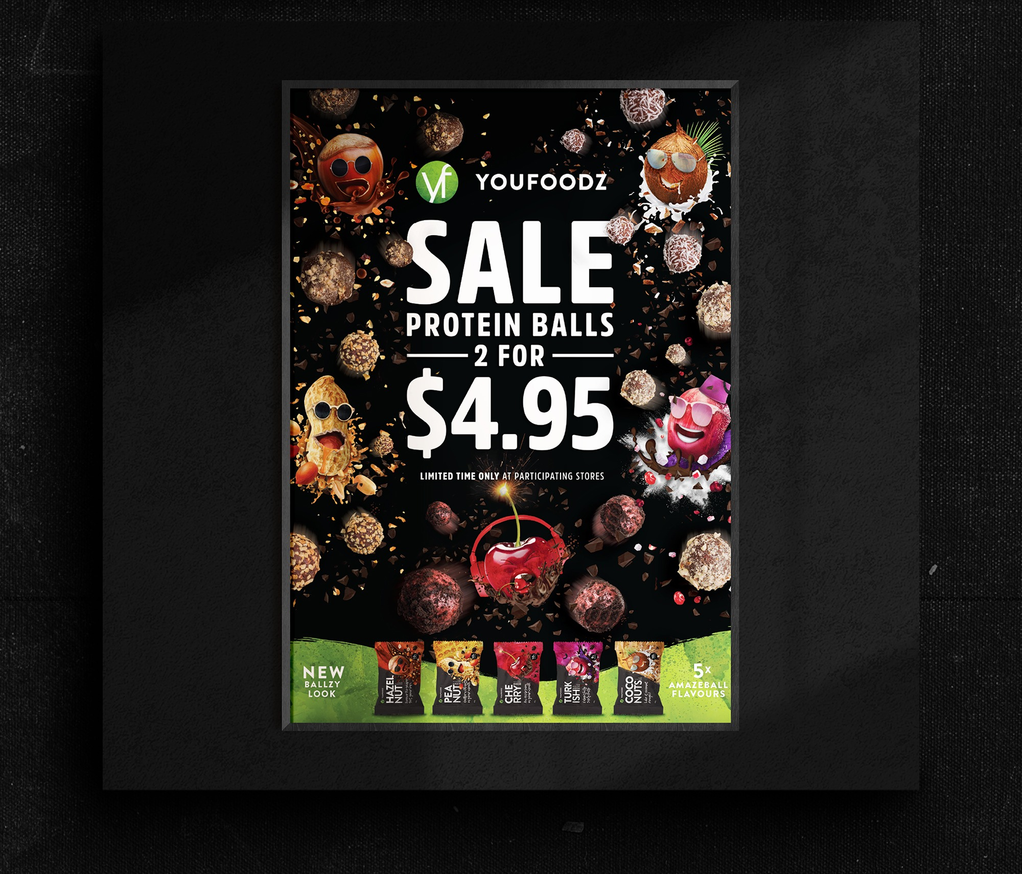 New packaging design for Youfoodz protein balls Poster